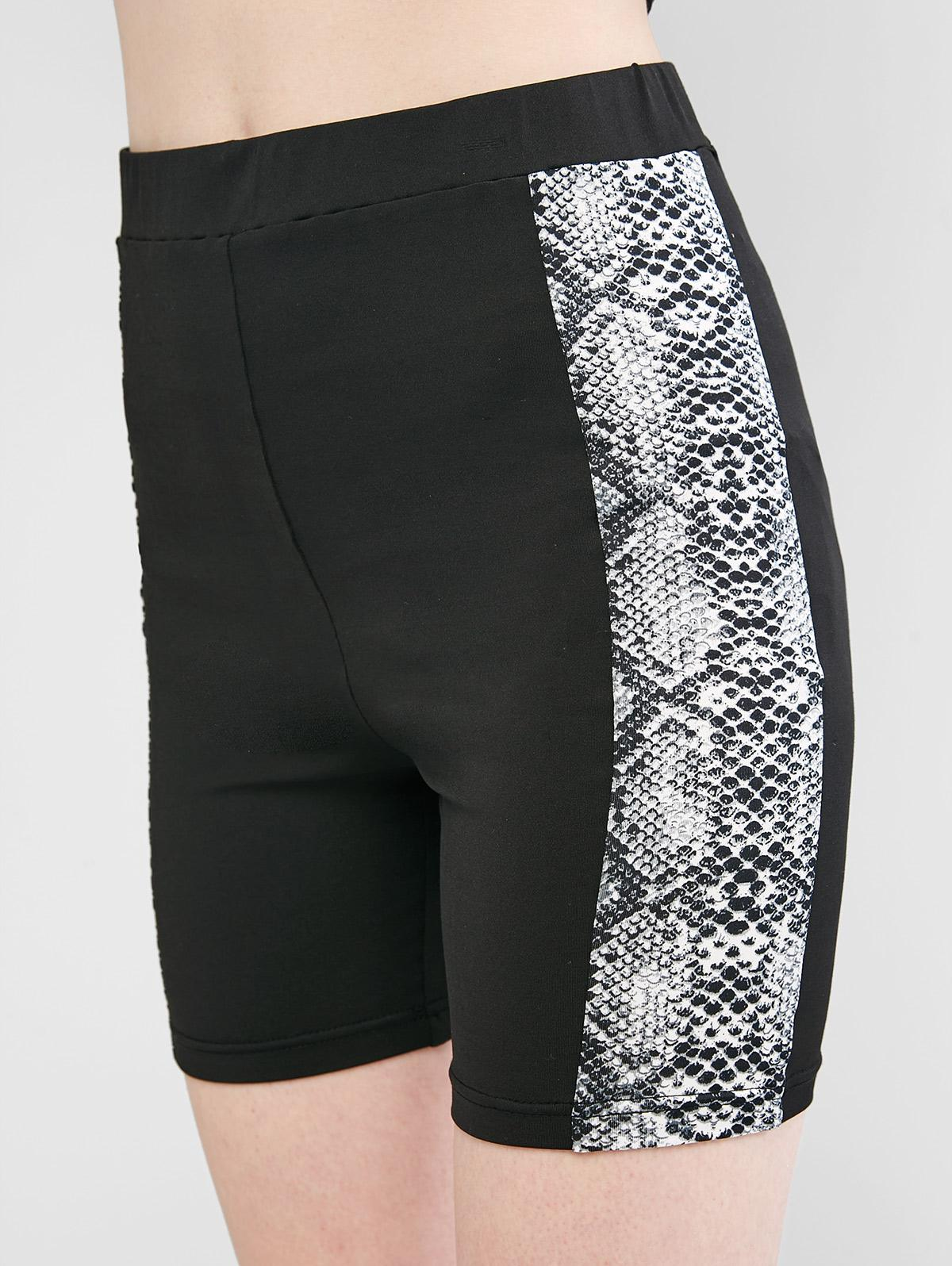 ZAFUL Snakeskin High Waisted Skinny Shorts