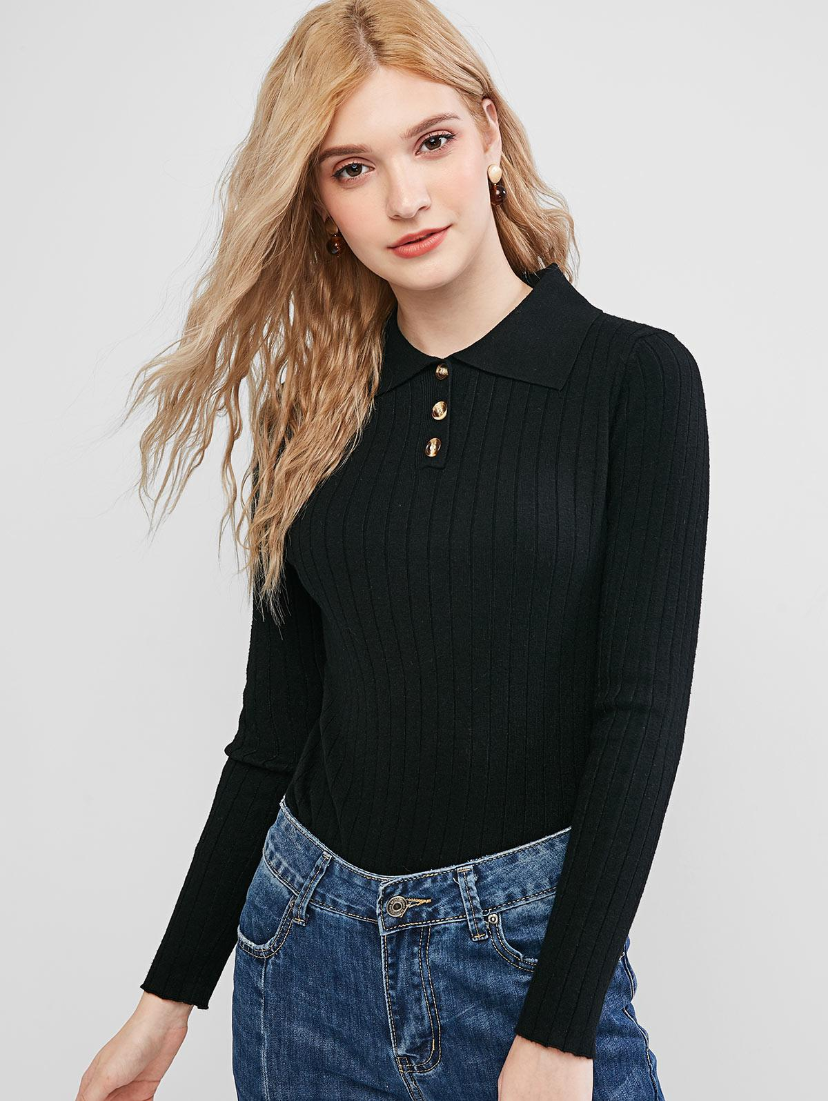 Solid Half Buttoned Jumper Sweater