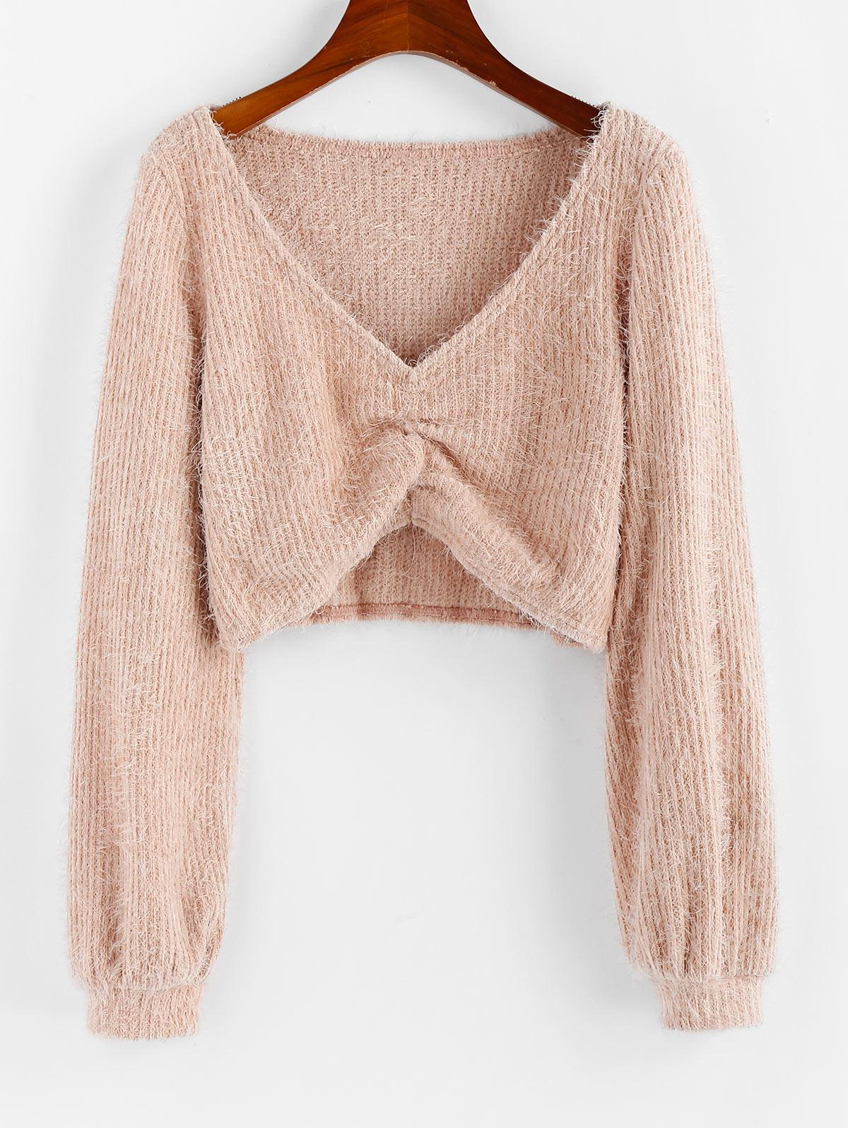 ZAFUL Fluffy Ruched Cropped Sweater