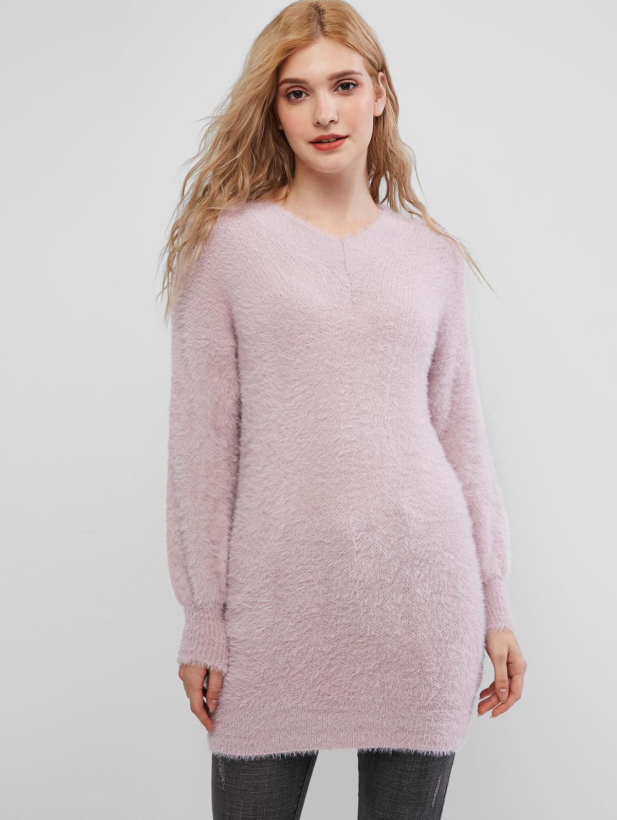 Drop Shoulder Fuzzy Tunic Knit Sweater