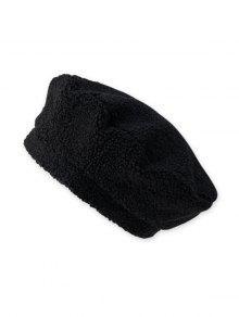 حمل الصلبة قبعة الصوف القبعات - أسود