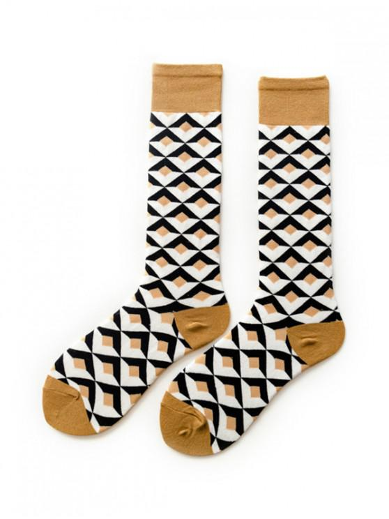 chic Argyle Geometric Calf Length Socks - KHAKI