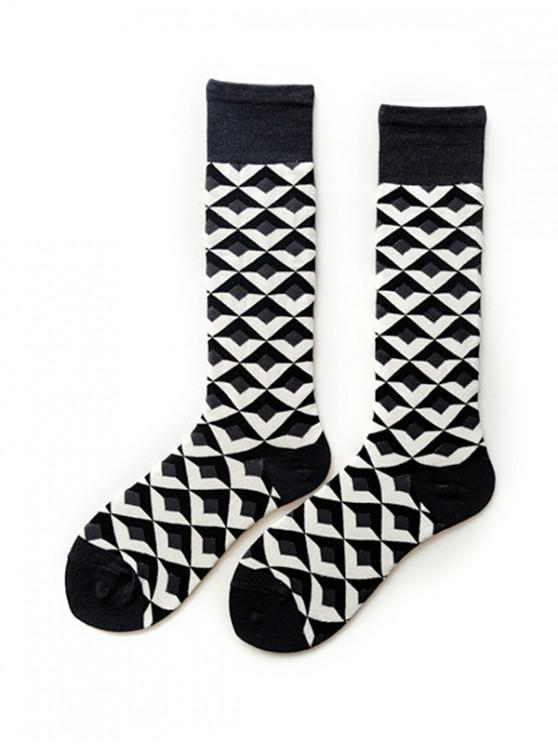 buy Argyle Geometric Calf Length Socks - DARK GRAY