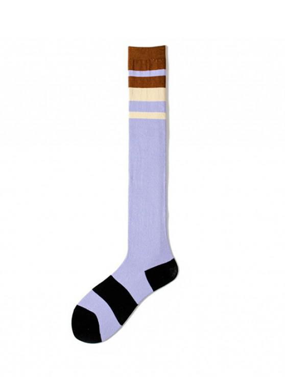 trendy Striped Print Over The Knee Length Socks - PURPLE