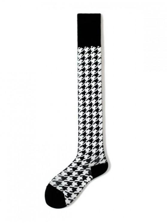 affordable Houndstooth Over Knee Length Socks - BLACK