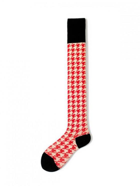 women Houndstooth Over Knee Length Socks - RED