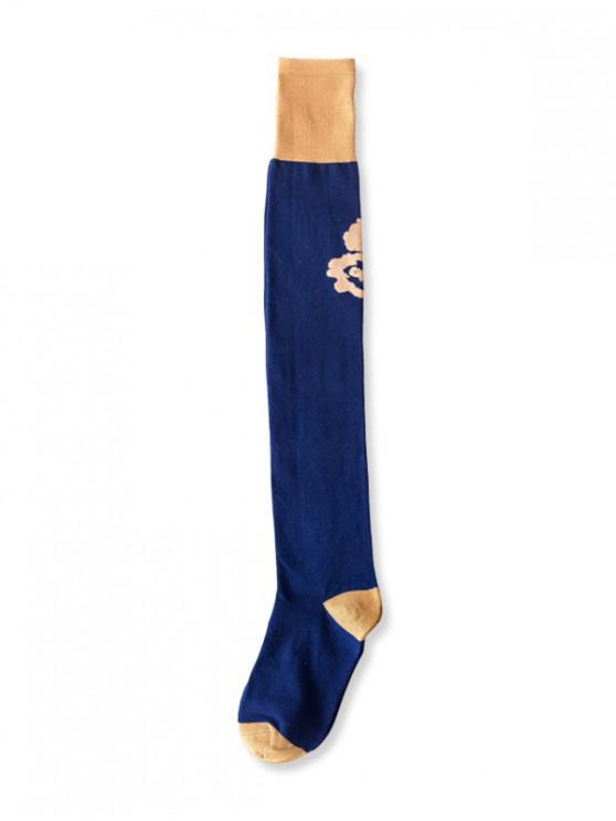best Floral Colorblock Thigh High Socks - BLUE