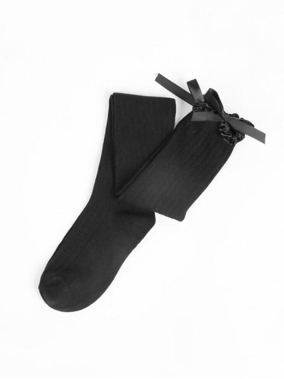 trendy Ruffle Bowknot Over Knee Length Socks - BLACK