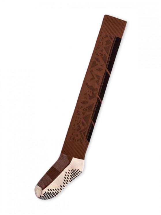 fancy Geometric Anti-slip Thigh High Socks - CARAMEL