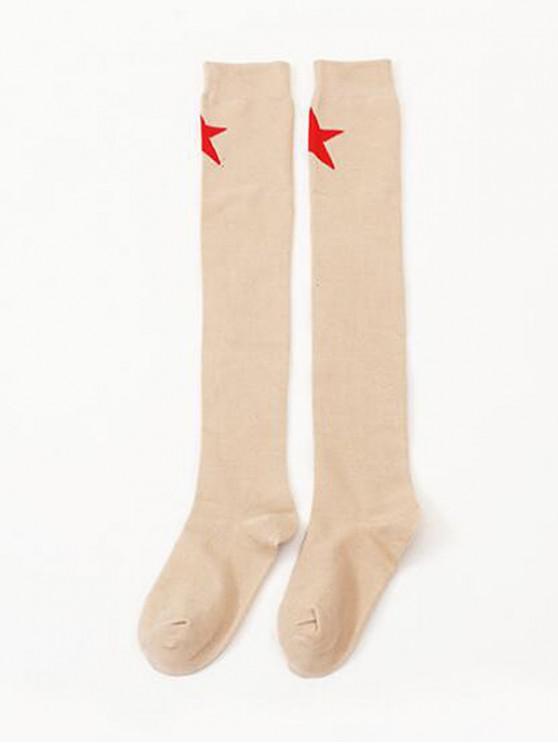 lady Star Pattern Over Knee Length Socks - APRICOT