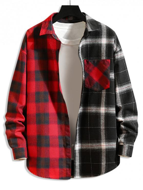 womens Plaid Print Splicing Color Blocking Casual Shirt - RED L