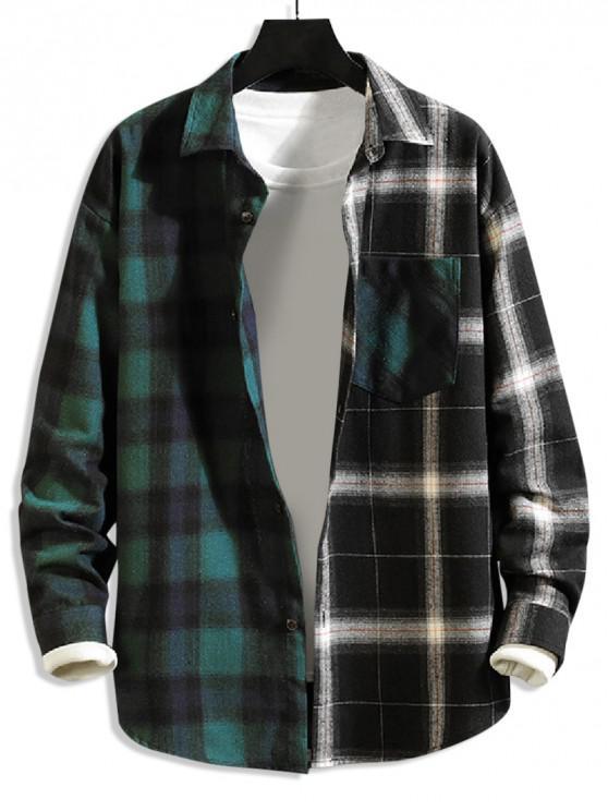 hot Plaid Print Splicing Color Blocking Casual Shirt - GREEN M