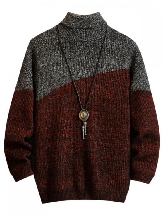 lady Casual Color Spliced Turtleneck Sweater - RED WINE M