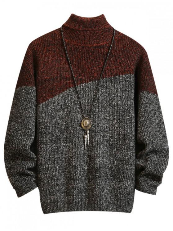 outfit Casual Color Spliced Turtleneck Sweater - DARK GRAY S