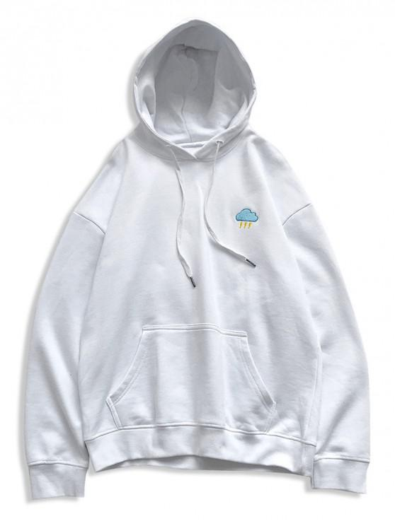 sale Creative Weather Embroidery Kangaroo Pocket Fleece Hoodie - WHITE L