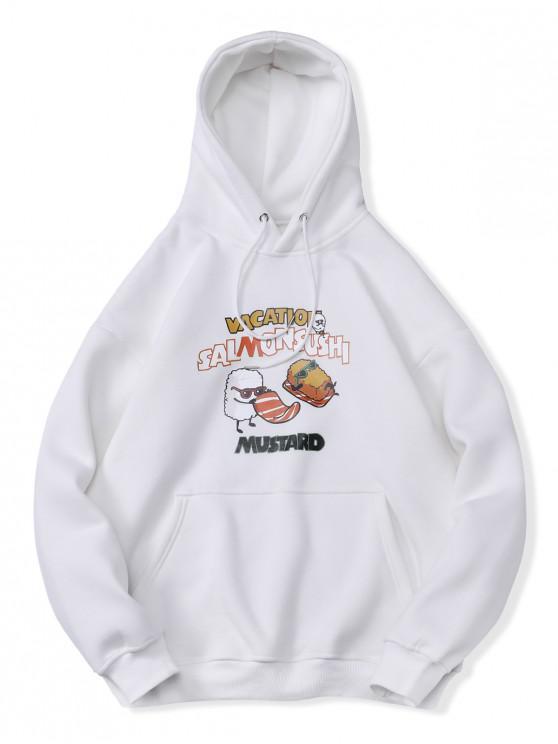 best Salmon Sushi Graphic Kangaroo Pocket Fleece Hoodie - WHITE 2XL