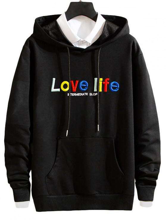 chic Love Life Letter Embroidery Pouch Pocket Hoodie - BLACK XS