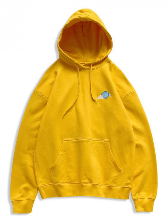 womens Creative Weather Embroidery Kangaroo Pocket Fleece Hoodie - YELLOW L
