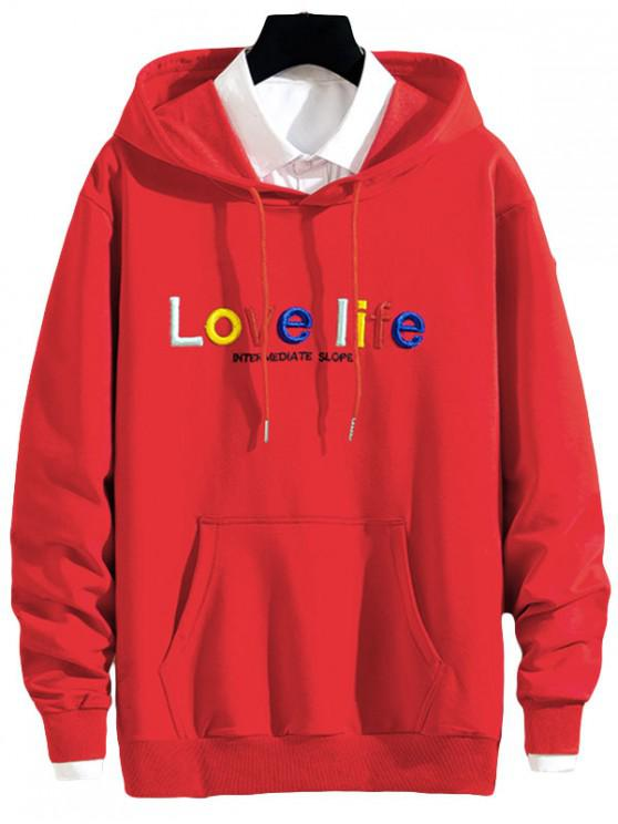 latest Love Life Letter Embroidery Pouch Pocket Hoodie - RED S