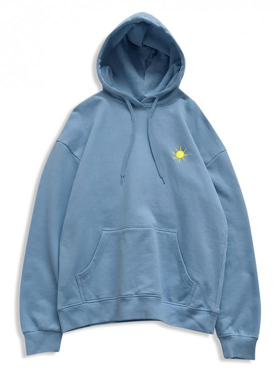 chic Creative Weather Embroidery Kangaroo Pocket Fleece Hoodie - LIGHT BLUE M