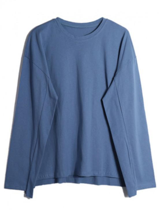 women Solid Drop Shoulder Dip Hem Slit Sweatshirt - BLUE XL