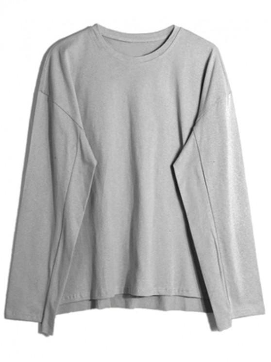 best Solid Drop Shoulder Dip Hem Slit Sweatshirt - LIGHT GRAY L