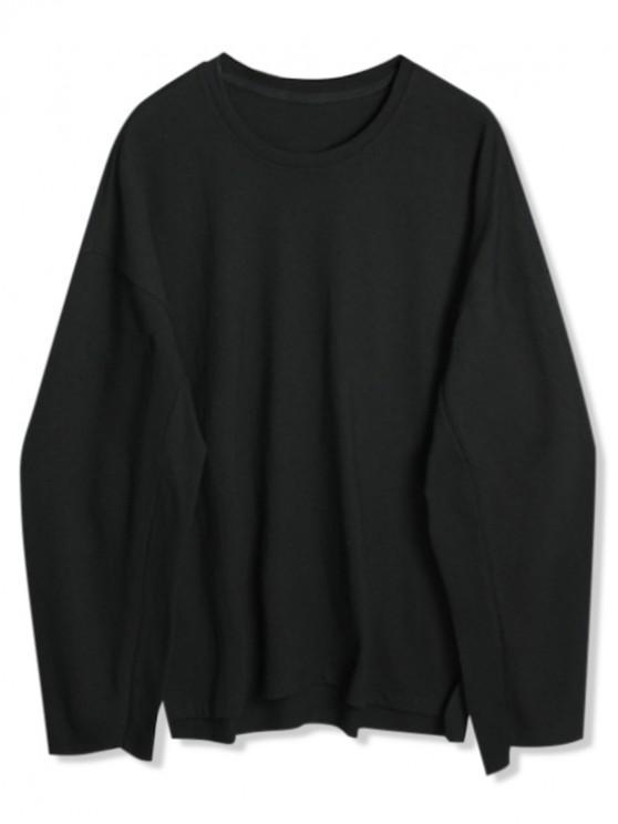 shop Solid Drop Shoulder Dip Hem Slit Sweatshirt - BLACK M
