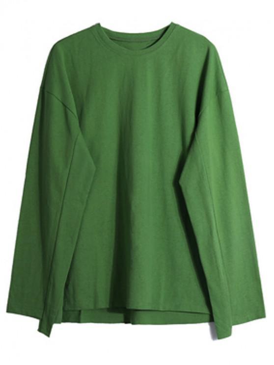 Solid Picătură Umăr Dip Hem Slit Sweatshirt - Pistachio verde L