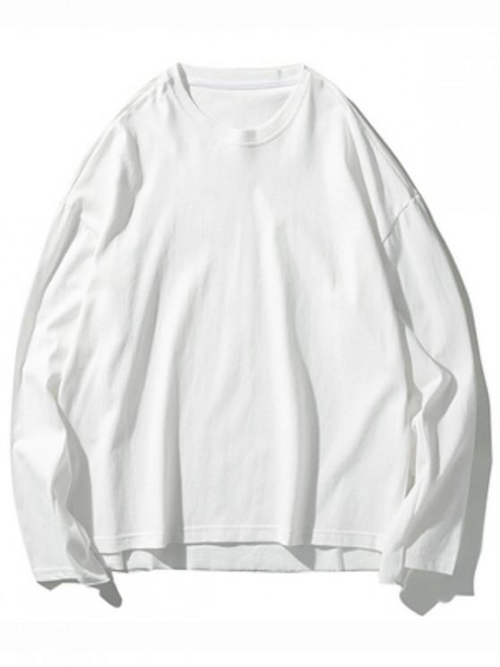 women Solid Drop Shoulder Dip Hem Slit Sweatshirt - WHITE M