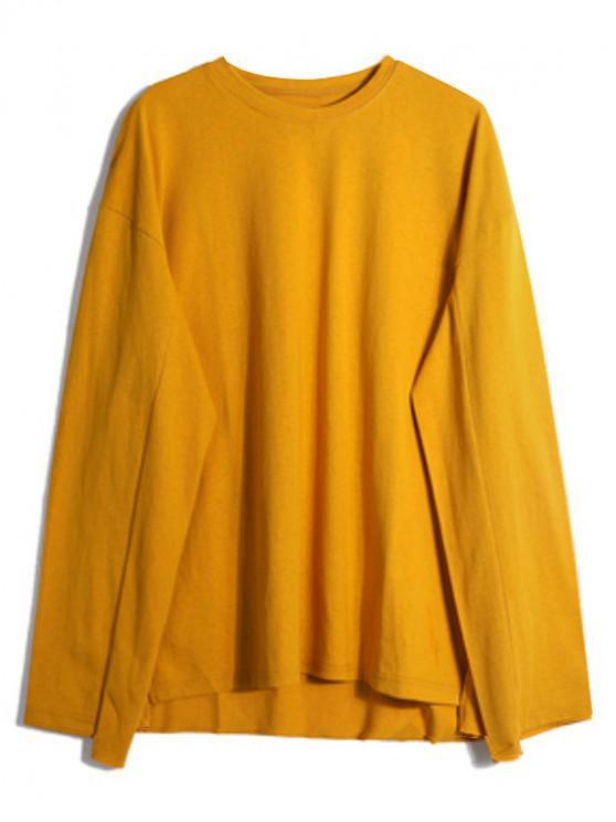 women's Solid Drop Shoulder Dip Hem Slit Sweatshirt - YELLOW L