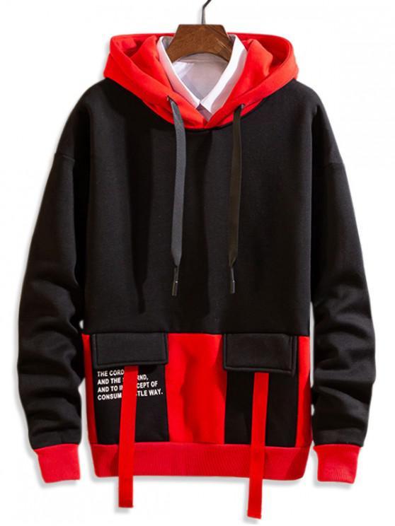 lady Letter Printed Color Spliced Drawstring Hoodie - BLACK S