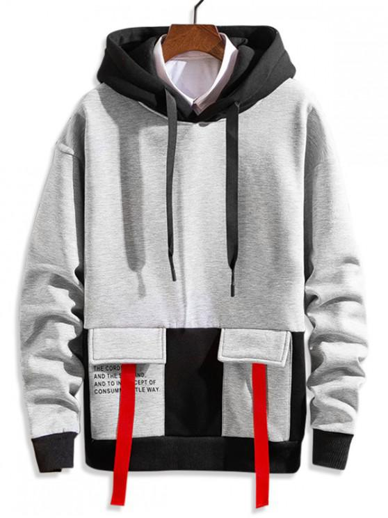 shop Letter Printed Color Spliced Drawstring Hoodie - GRAY XS
