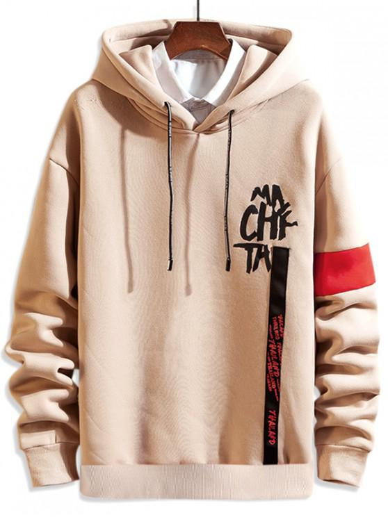 trendy Letter Print Drawstring Casual Hoodie - APRICOT L