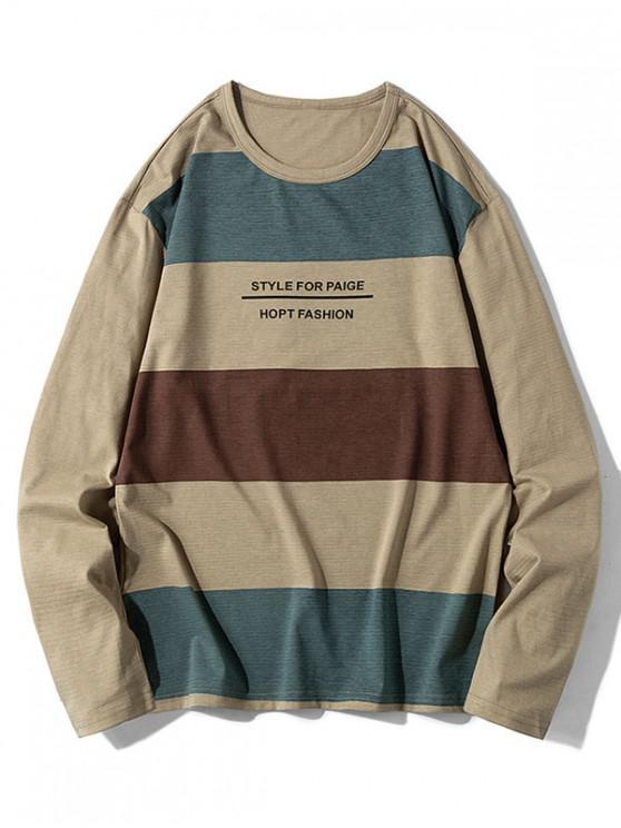 shops Casual Letter Pattern Color Spliced Sweatshirt - KHAKI L