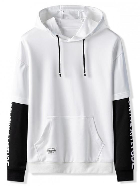 shop 2fer Splicing Kangaroo Pocket Hoodie - WHITE XS