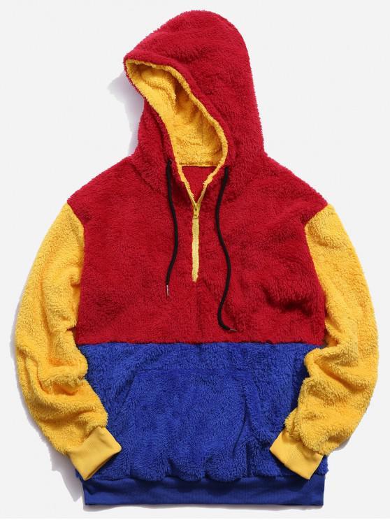 affordable Color Blocking Quarter Zipper Fluffy Hoodie - MULTI-A 2XL