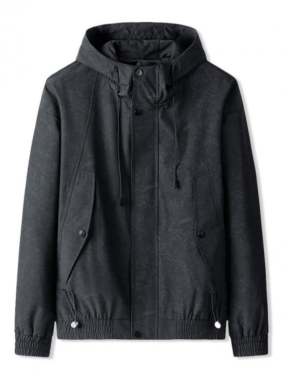 shops Zipper Drawstring Hooded Jacket - BLACK 3XL