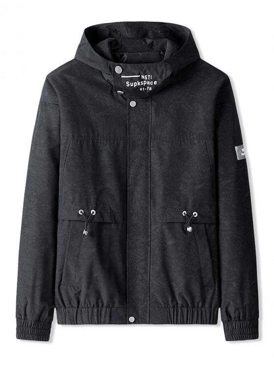 chic Pocket Decoration Letter Pattern Hooded Jacket - BLACK 2XL