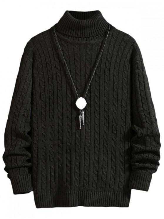 shop Solid Color Cable Knitted Turtleneck Sweater - BLACK S