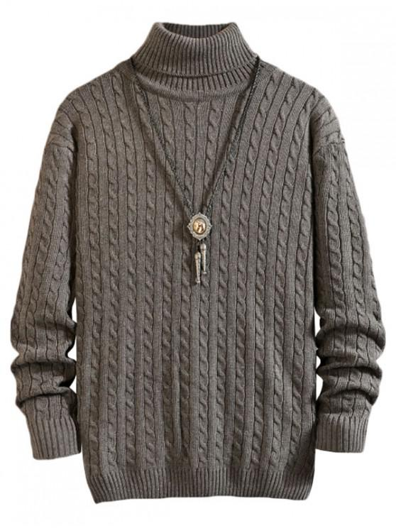 trendy Solid Color Cable Knitted Turtleneck Sweater - DARK GRAY XS