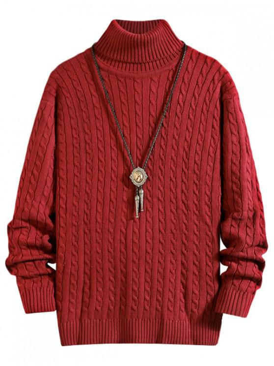 unique Solid Color Cable Knitted Turtleneck Sweater - RED WINE XS