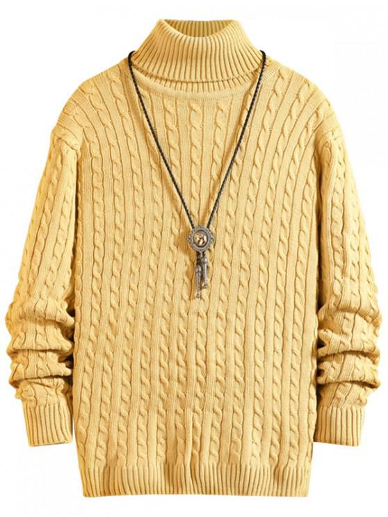 womens Solid Color Cable Knitted Turtleneck Sweater - KHAKI XS
