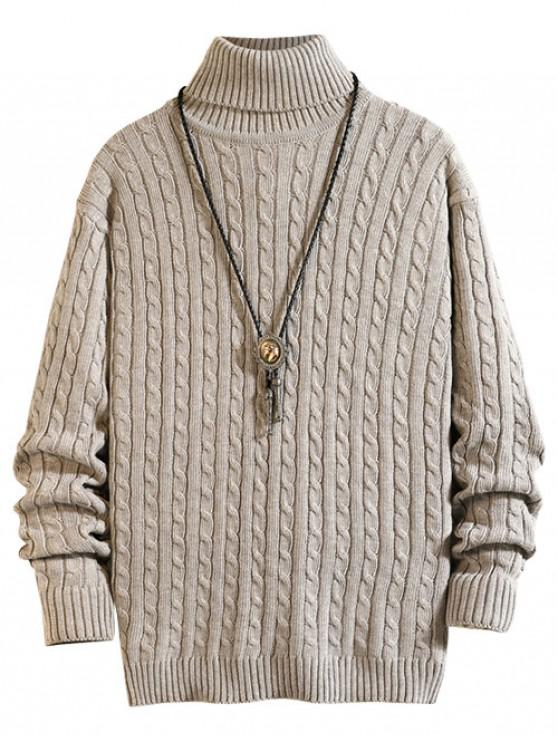 shop Solid Color Cable Knitted Turtleneck Sweater - LIGHT GRAY L