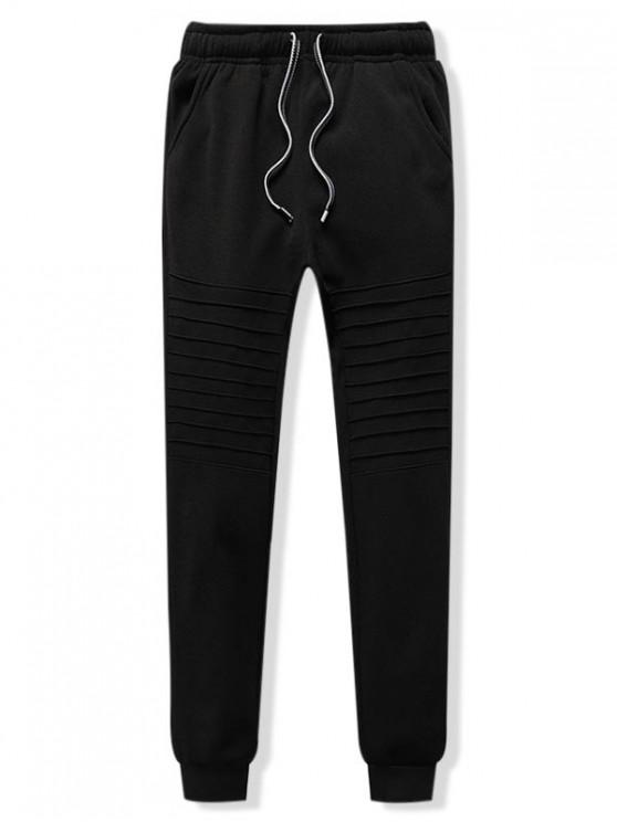 buy Pleated Solid Drawstring Fleece Jogger Pants - BLACK L