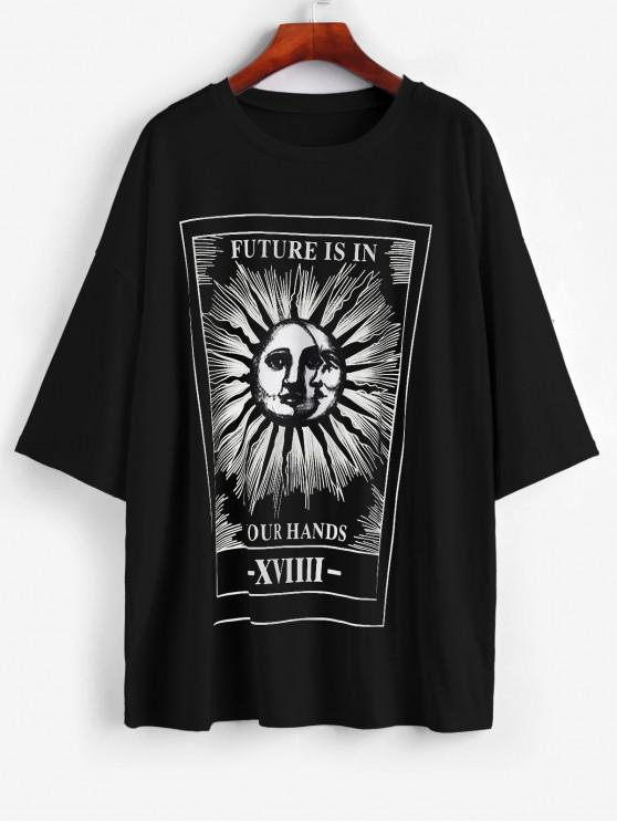 fancy Sun and Moon Letter Print Loose Tee - BLACK L
