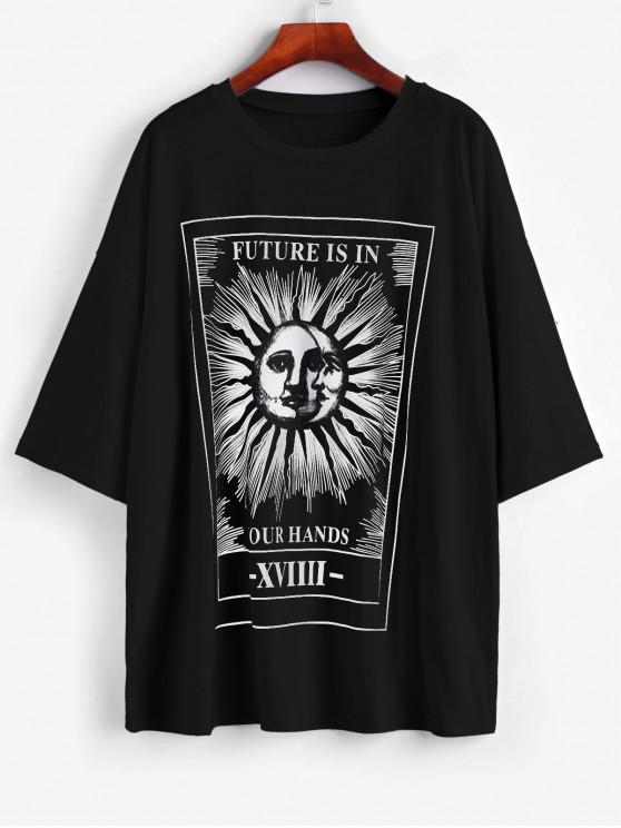 T-Shirt Lâche Lettre Soleil et Lune Imprimés - Noir S