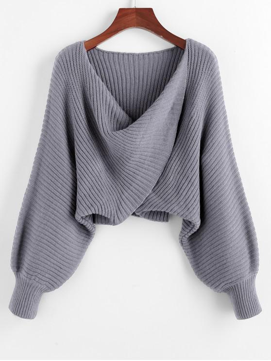 chic Twist Asymmetric Crop Sweater - GRAY CLOUD L