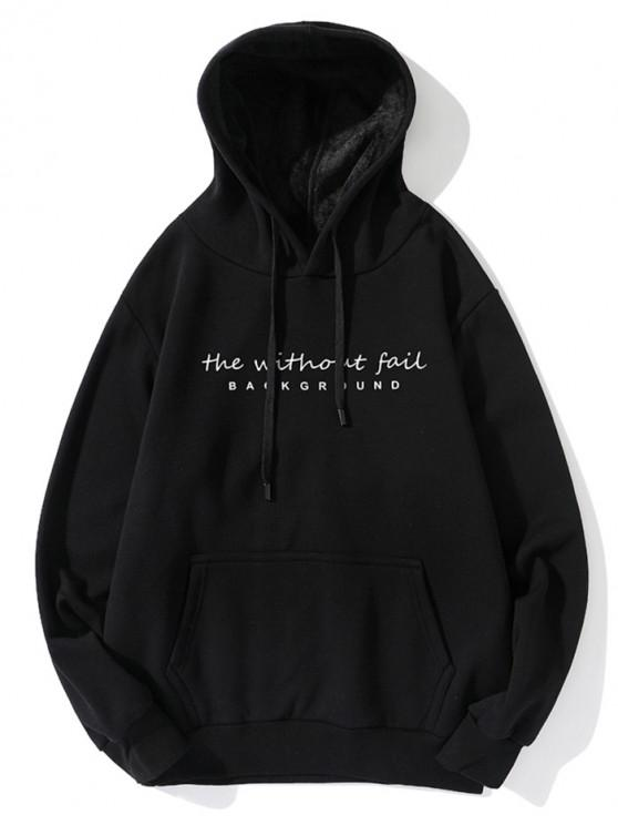 affordable Without Fail Letter Print Fleece Drawstring Hoodie - BLACK 2XL