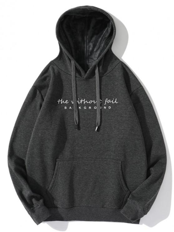 buy Without Fail Letter Print Fleece Drawstring Hoodie - DARK GRAY M