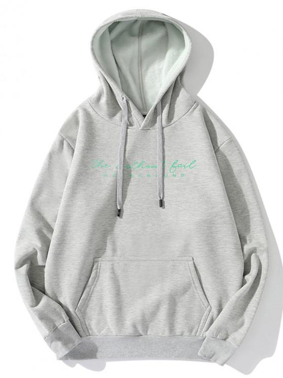online Without Fail Letter Print Fleece Drawstring Hoodie - LIGHT GRAY 2XL